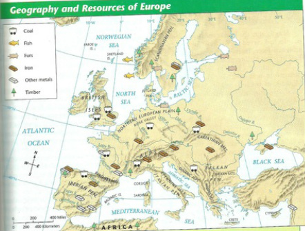 map of geography and resources in europe